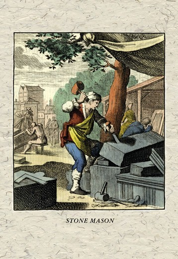 Stock Photo: 4408-5896 Stone Mason, European Trades - 1820