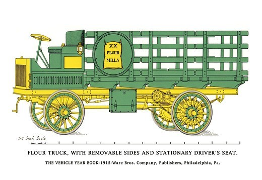 Stock Photo: 4408-5942 Flour Truck w/ removable sides and stationary driver's seat, Cars - 1915