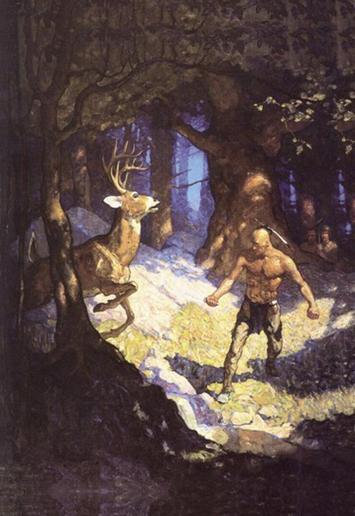 Inncus Slays the Deer, N.C. Wyeth : Stock Photo