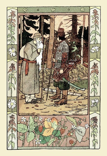 Stock Photo: 4408-6177 Old Man and Archer, Bilibin - Russian Tales