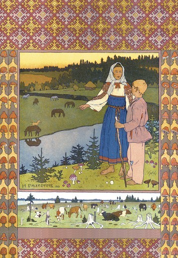 Stock Photo: 4408-6185 Shepherds, Bilibin - Russian Tales