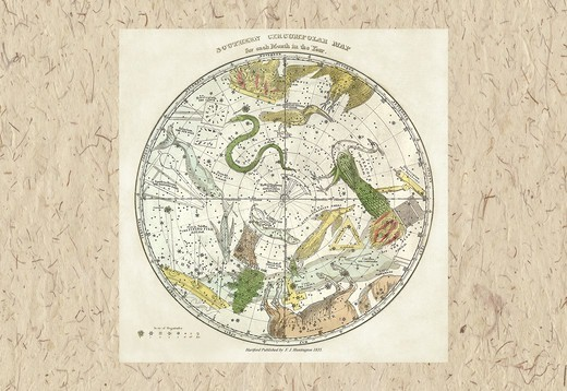 Stock Photo: 4408-6345 Southern Circumpolar Map, Celestial & Astrological Charts