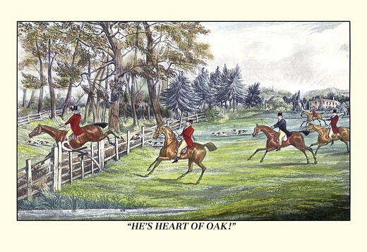 Stock Photo: 4408-6370 Horseman Jumps the Fence to Follow the Hounds, Dogs