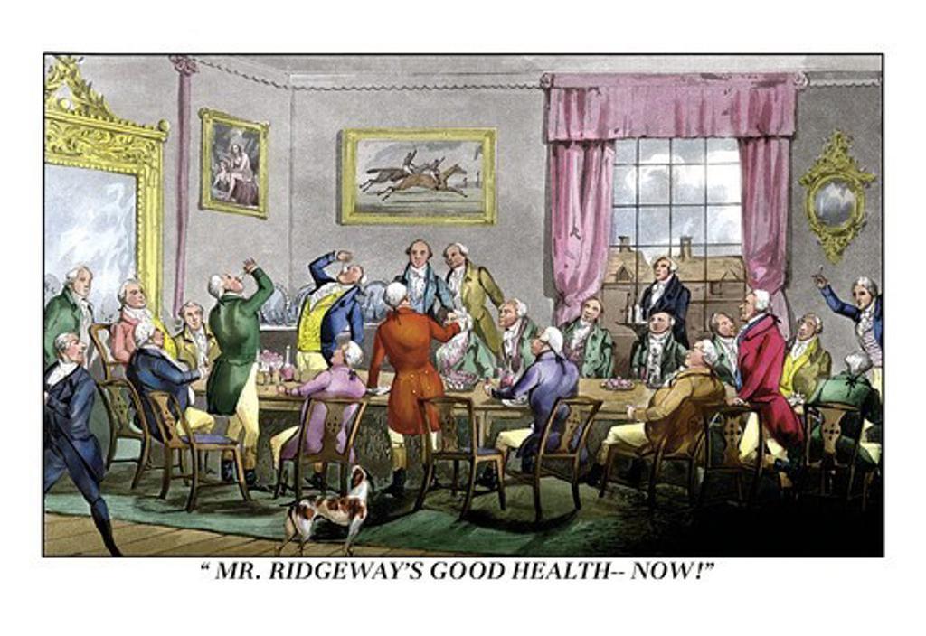 Stock Photo: 4408-6382 Drink to Mr. Ridgeway's Good Health, Dogs