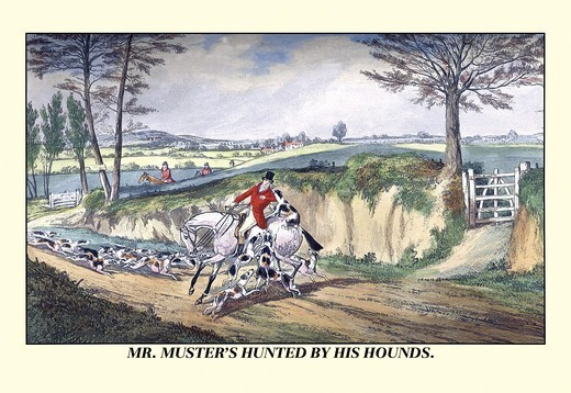 Stock Photo: 4408-6394 Mr. Muster's Hunted by his Hounds, Dogs