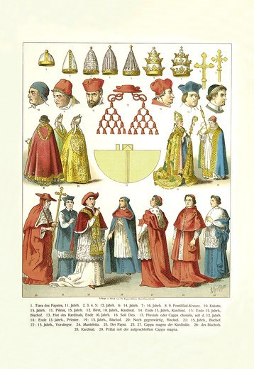 French Clergy Headwear and Vestments, Clerical Vestments : Stock Photo