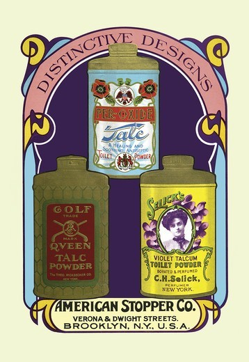 Stock Photo: 4408-6699 Golf Queen Talc Powder, Per-Oxide Talc, and Selick's Violet Talcum Powder, Victorian Talcum Powder Tin Designs