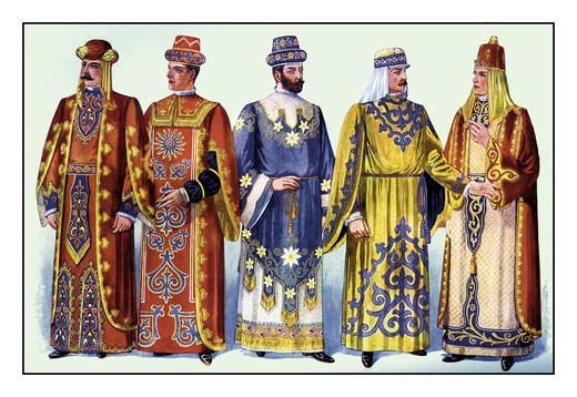 Odd Fellows: Men in Robes and Turbans, Odd Fellows Lodge Costumes : Stock Photo