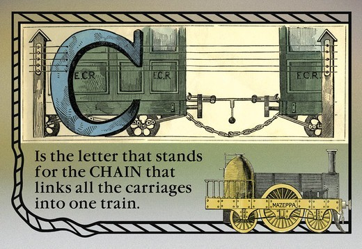 C is the Letter that Stands for the Chain, Alphabet - Railway : Stock Photo