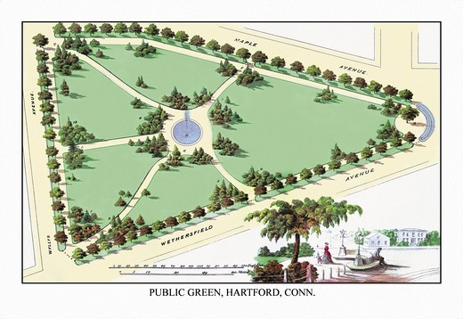 Stock Photo: 4408-7683 Public Green, Hartford, C.T., Landscape Architecture