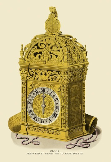 Clock, Presented by Henry VII to Anne Boleyn, Costume & Decorations of the Middle Ages : Stock Photo