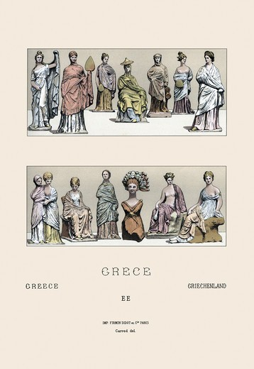 Stock Photo: 4408-8567 Greek Ladies, According to Asian Figurines, World Fashion - Racinet