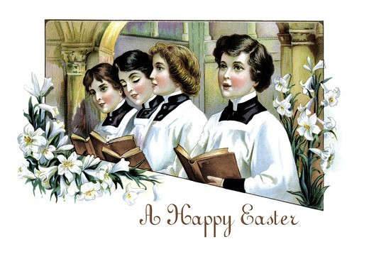 Stock Photo: 4408-8632 Happy Easter From the Chorus Boys, Easter