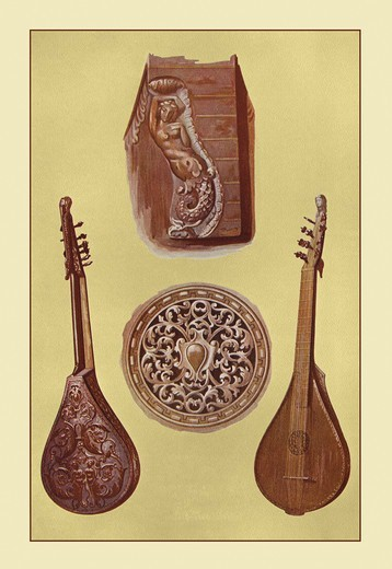 Stock Photo: 4408-8821 Cetera, Renaissance Musical Instruments