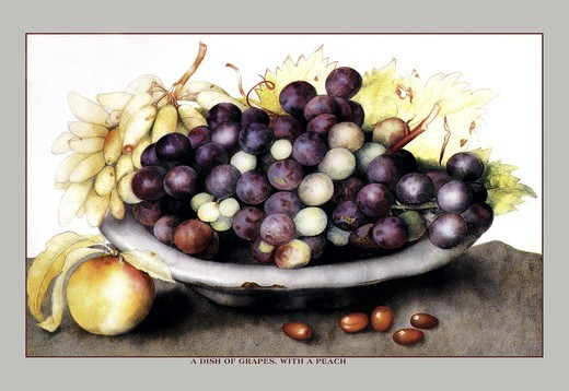 Stock Photo: 4408-8882 Dish of Grapes and Peaches, Giovanna Garzoni