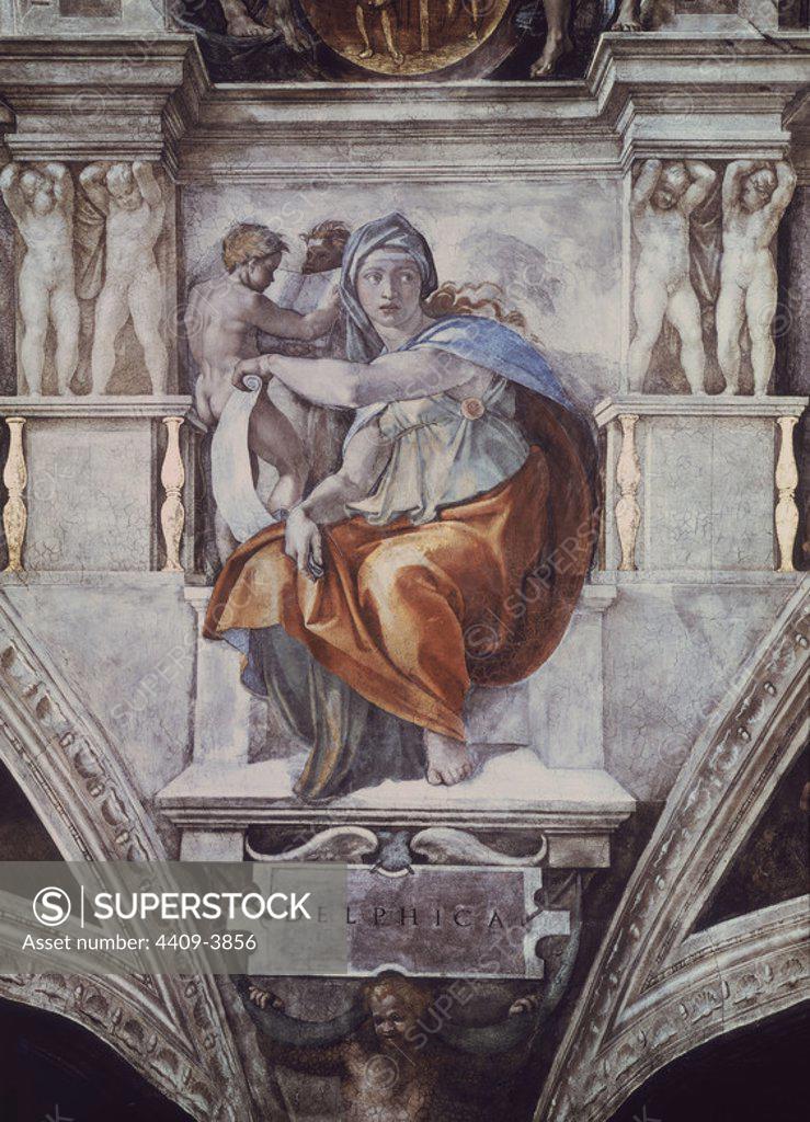 Stock Photo: 4409-3856 LA SIBILA DELPHICA ANTES DE LA RESTAURACION - SIGLO XVI - RENACIMIENTO ITALIANO. Author: Michelangelo. Location: MUSEOS VATICANOS-CAPILLA SIXTINA. VATICANO.