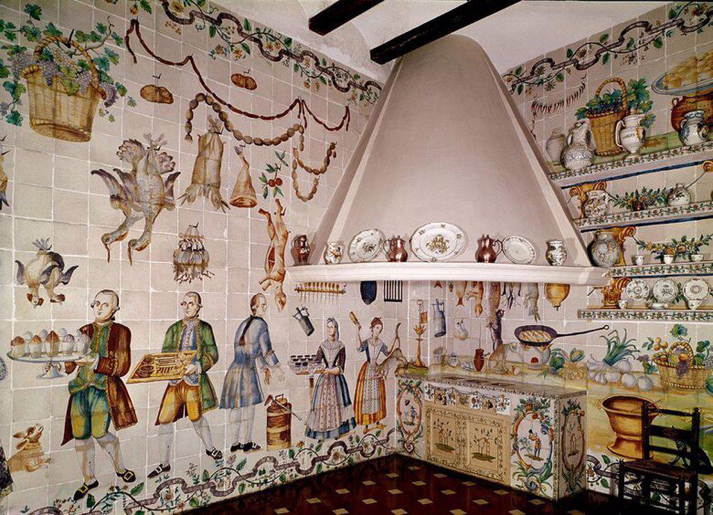 Cocina valenciana con azulejos de manises siglo xviii for Cocina valenciana