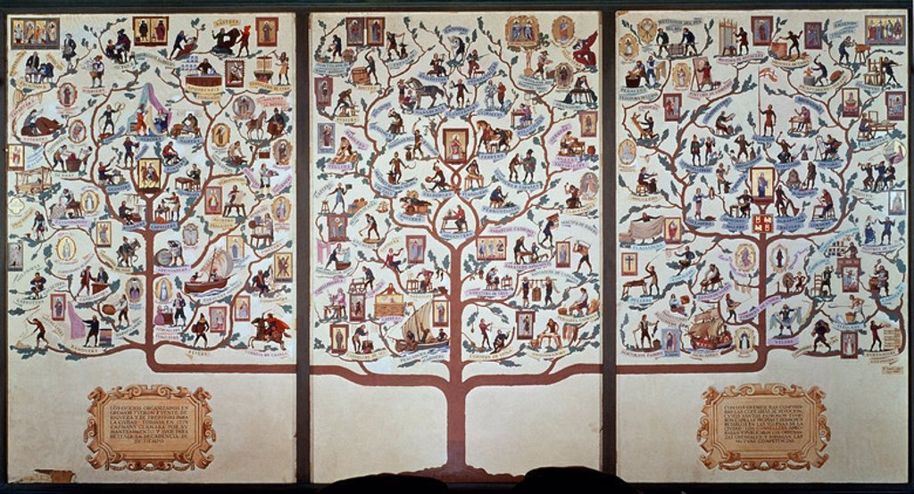 Stock Photo: 4409-10413 Genealogical tree of jobs. Barcelona, museum of history. Location: MUSEE HISTORIQUE, BARCELONA, SPAIN.