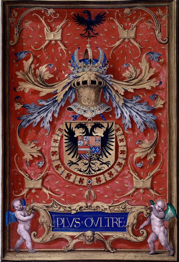 Stock Photo: 4409-10459 LIBRO DEL TOISON - EMBLEMA DE CARLOS I - MANUSCRITO SIGLO XVI. Author: BENING, SIMON. Location: INSTITUTO VALENCIA DE DON JUAN-COLECCION, MADRID, SPAIN.