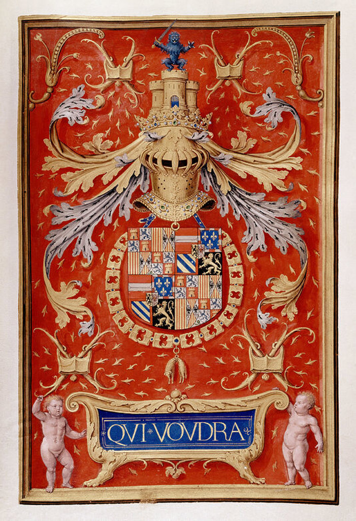 LIBRO DEL TOISON - EMBLEMA DE FELIPE EL HERMOSO - MANUSCRITO SIGLO XVI. Author: BENING, SIMON. Location: INSTITUTO VALENCIA DE DON JUAN-COLECCION, MADRID, SPAIN. : Stock Photo