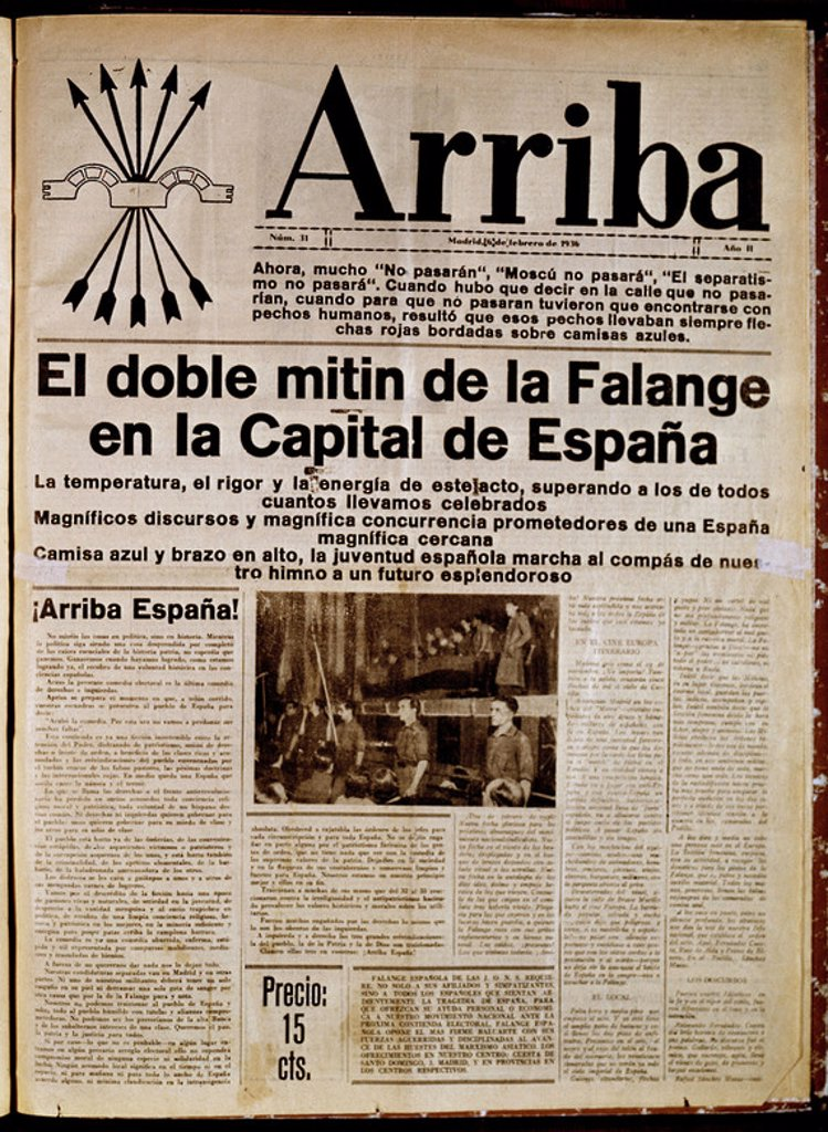 Stock Photo: 4409-10497 PERIODICO ARRIBA DE FALANGE 1935. Location: HEMEROTECA MUNICIPAL, MADRID.