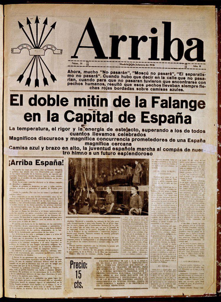 PERIODICO ARRIBA DE FALANGE 1935. Location: HEMEROTECA MUNICIPAL, MADRID. : Stock Photo