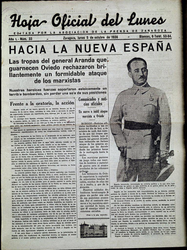 """Stock Photo: 4409-10503 PERIODICO LA HOJA OFICIAL DEL LUNES 1936:""""HACIA LA NUEVA ESPAÑA""""ARANDA EN OVIEDO. Location: HEMEROTECA MUNICIPAL, MADRID."""