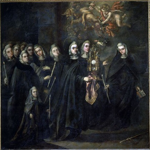 Stock Photo: 4409-10534 Procession of St. Clare with the Eucharist - 17th century - 295x295 cm. Author: VALDES LEAL, JUAN DE. Location: AYUNTAMIENTO, SEVILLE, SPAIN. Also known as: STA CLARA LLEVANDO LA CUSTODIA PARA DETENER A LOS SARRACENOS.