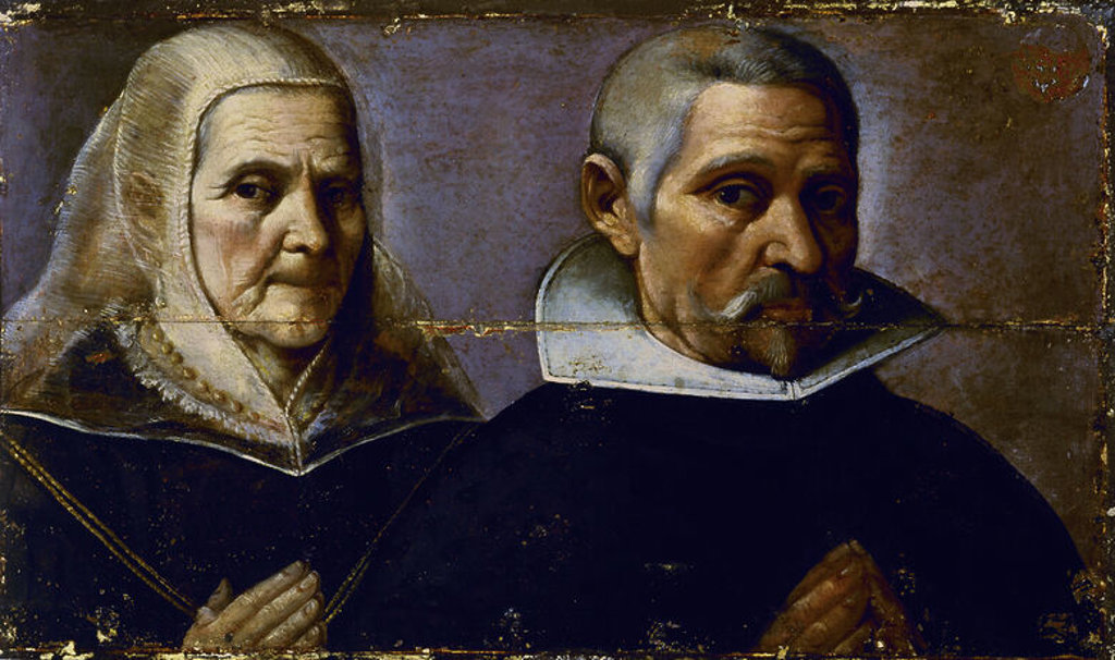 RETRATO DOBLE DE FRANCISCO PACHECO Y SU ESPOSA - 1610. Author: PACHECO, FRANCISCO. Location: MUSEO DE BELLAS ARTES-CONVENTO DE LA MERCED CALZAD, SEVILLE, SPAIN. : Stock Photo