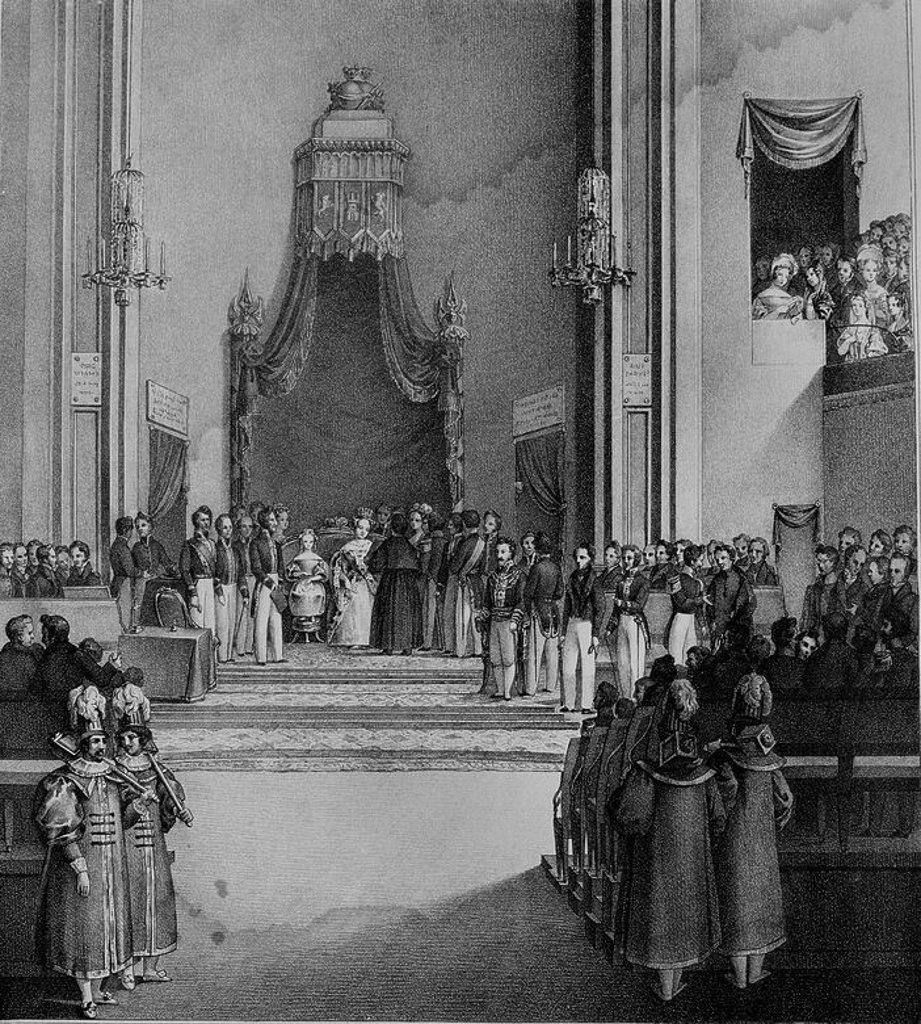 Stock Photo: 4409-10591 LA REINA GOBERNADORA JURA LA CONSTITUCION DE 1837, EN SESION SOLEMNE CELEBRADA EN EL CONVENTO DEL ESPIRITU SANTO, ACOMPAÑADA DE SU HIJA ISABEL II. Location: MUSEO ROMANTICO-GRABADO, MADRID, SPAIN.