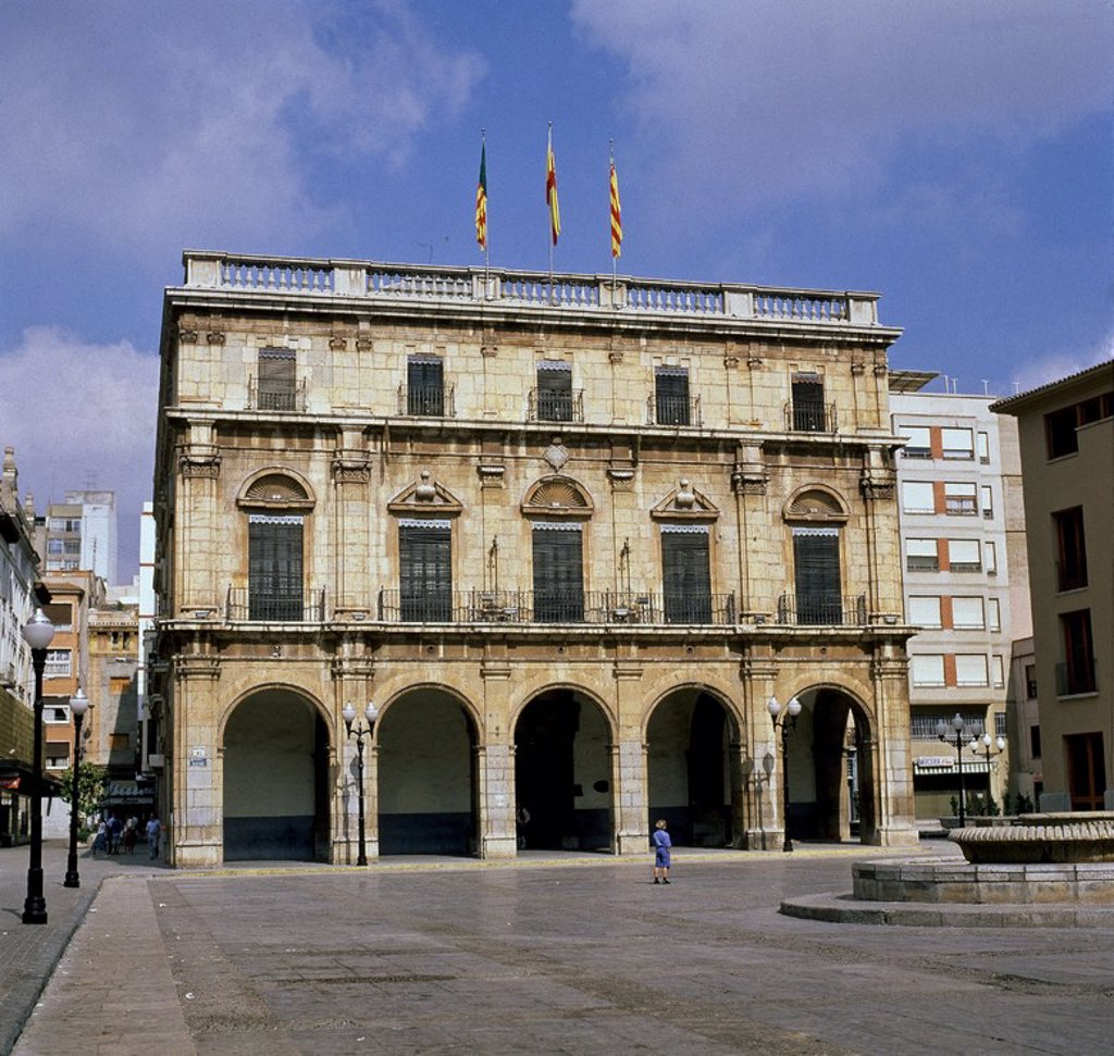 Stock Photo: 4409-106248 FACHADA DE LA CASA CONSISTORIAL - 1689-1716. Location: AYUNTAMIENTO, CASTELLÓN, SPAIN.