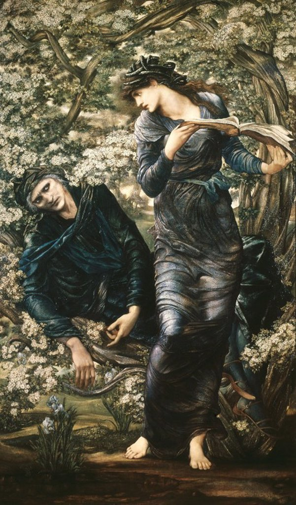 Stock Photo: 4409-106456 EL HECHIZO DE MERLIN - 1874 - OLEO/TELA - 186 x111 cm - PRERRAFAELISMO. Author: BURNE-JONES, EDWARD. Location: LADY LEVER ART GALLERY, LIVERPOOL, ENGLAND.