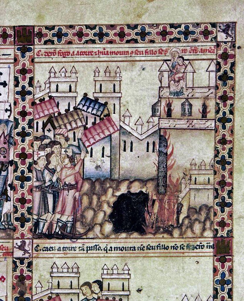 Stock Photo: 4409-106596 MS B.R.20- CANTIGA STA MARIA Nº 205-F6-B-CRISTIANOS DE VELEZ Y CALATRAVA ATACAN CASTILLO-S XIII. Author: ALFONSO X OF CASTILE, THE WISE. Location: BIBLIOTECA NACIONAL COLECCIÓN, FLORENZ, ITALIA.
