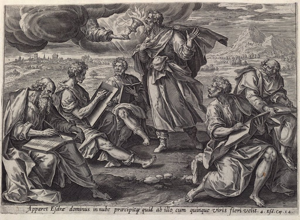 Stock Photo: 4409-106970 DIOS SE APARECE EN UNA NUBE A ESDRAS - HISTORIA DE ESDRAS - XVI/XVII - GRABADO FLAMENCO. Author: JODE GERARD / VOS MARTEN / VISSCHER CLAES JANSZ. Location: PRIVATE COLLECTION.