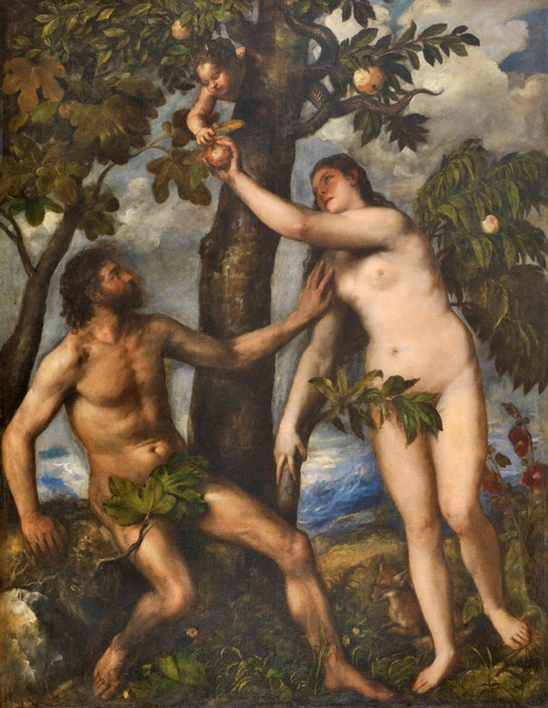 Stock Photo: 4409-107409 Vecellio di Gregorio Tiziano / 'Adam and Eve', ca.  1550, Italian School, Oil on canvas, 240 cm x 186 cm, P00429. Artwork also known as: ADAN Y EVA.