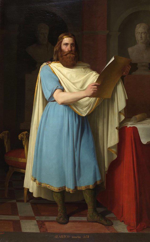 Carlos María Esquivel / 'The Visigoth King Alaric', 1856, Spanish School, Canvas, 225 cm x 140 cm, P07852. Artwork also known as: El rey godo Alarico. : Stock Photo