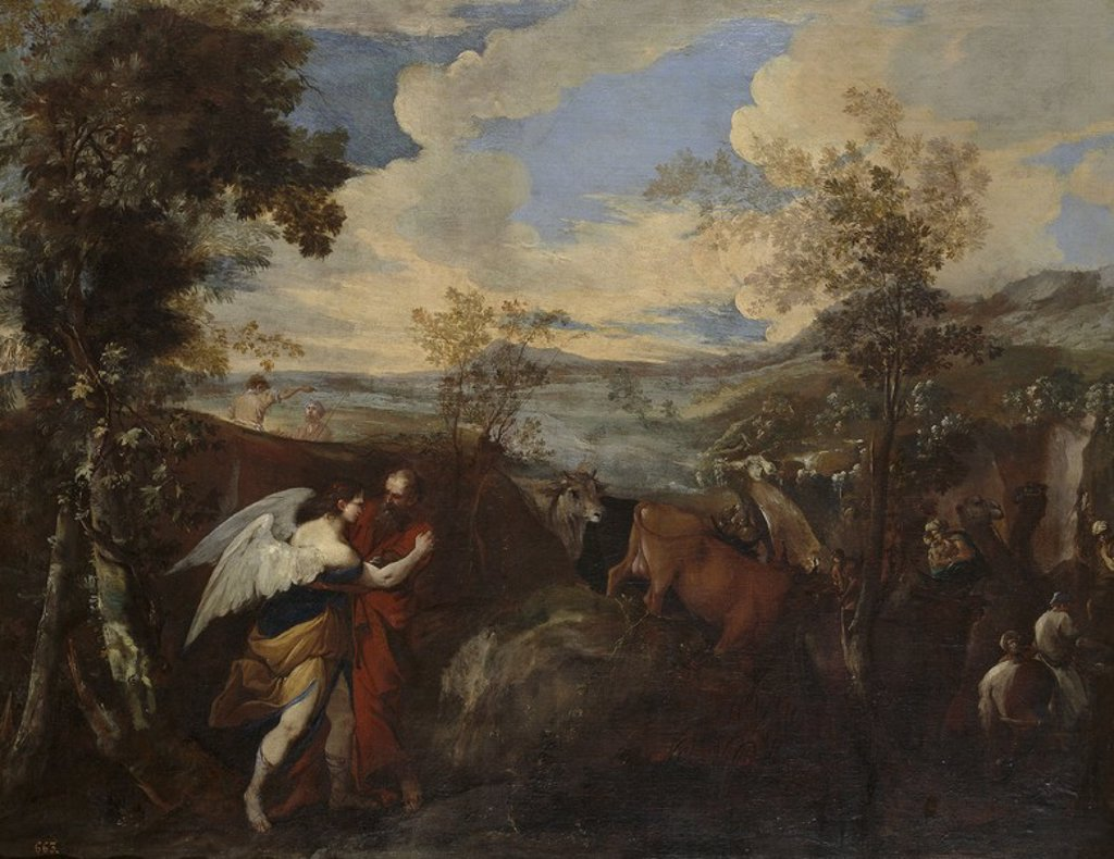 Stock Photo: 4409-107682 Andrea di Lione / 'Jacob Wrestling the Angel', Before  1670, Italian School, Canvas, 98 cm x 125 cm, P00239. Artwork also known as: Lucha de Jacob con el ángel.