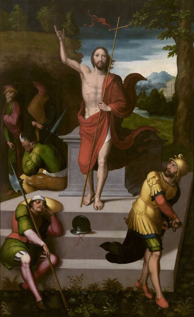 Stock Photo: 4409-107794 Juan Correa de Vivar / 'The Resurrection of Christ', Middle 16th century, Spanish School, Panel, 210 cm x 135 cm, P07715. Artwork also known as: La Resurrección de Cristo.