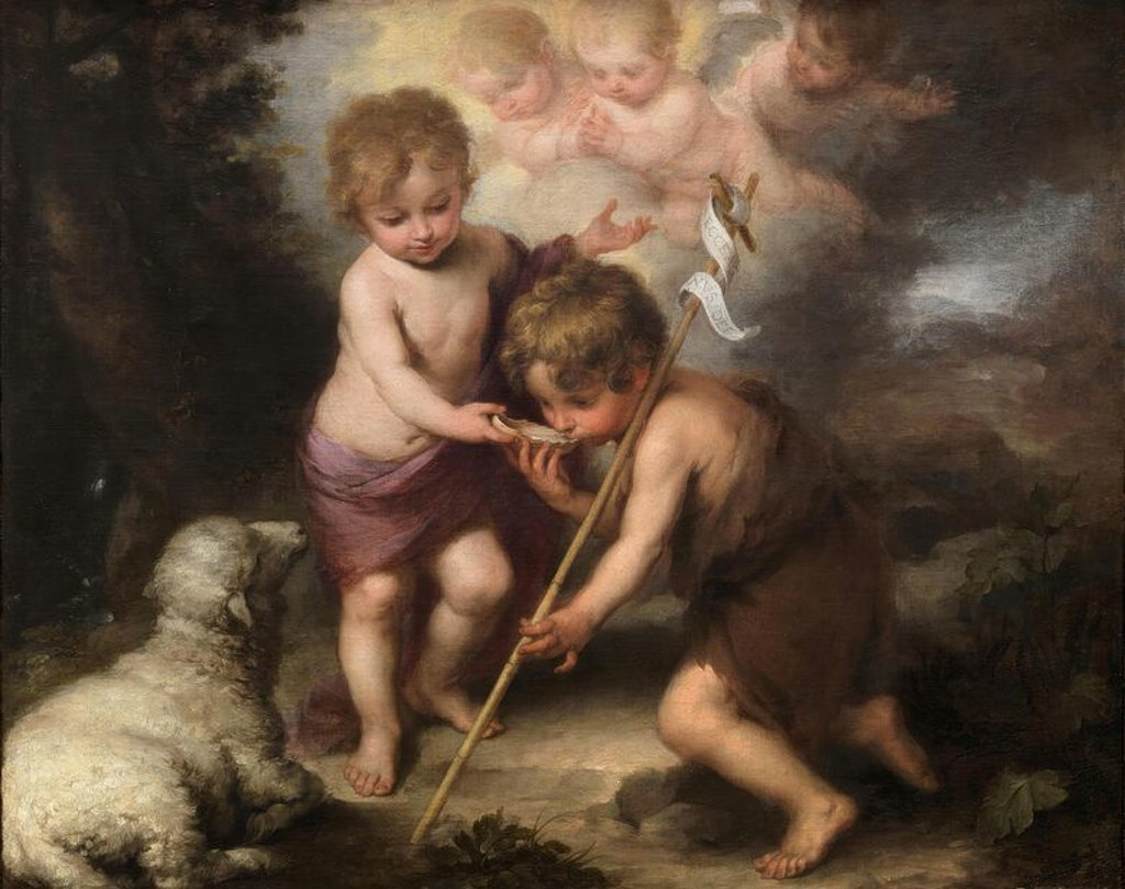 Bartolomé Esteban Murillo / 'The Holy Children with a Shell', 1670-1675, Spanish School, Oil on canvas, 104 cm x 124 cm, P00964. Artwork also known as: Los niños de la concha. : Stock Photo