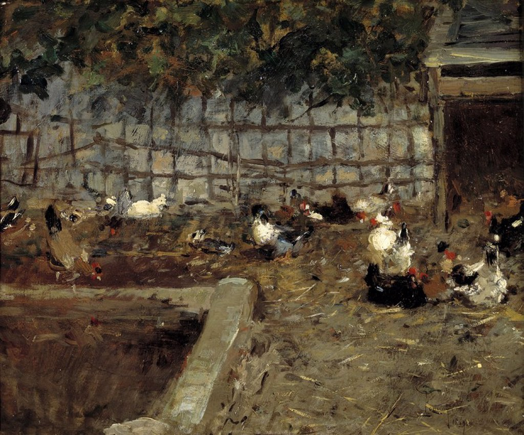 Stock Photo: 4409-107830 Mariano Fortuny Marsal / 'Farmyard', 1869, Spanish School, Canvas, 38 cm x 46 cm, P04327. Artwork also known as: CORRAL.