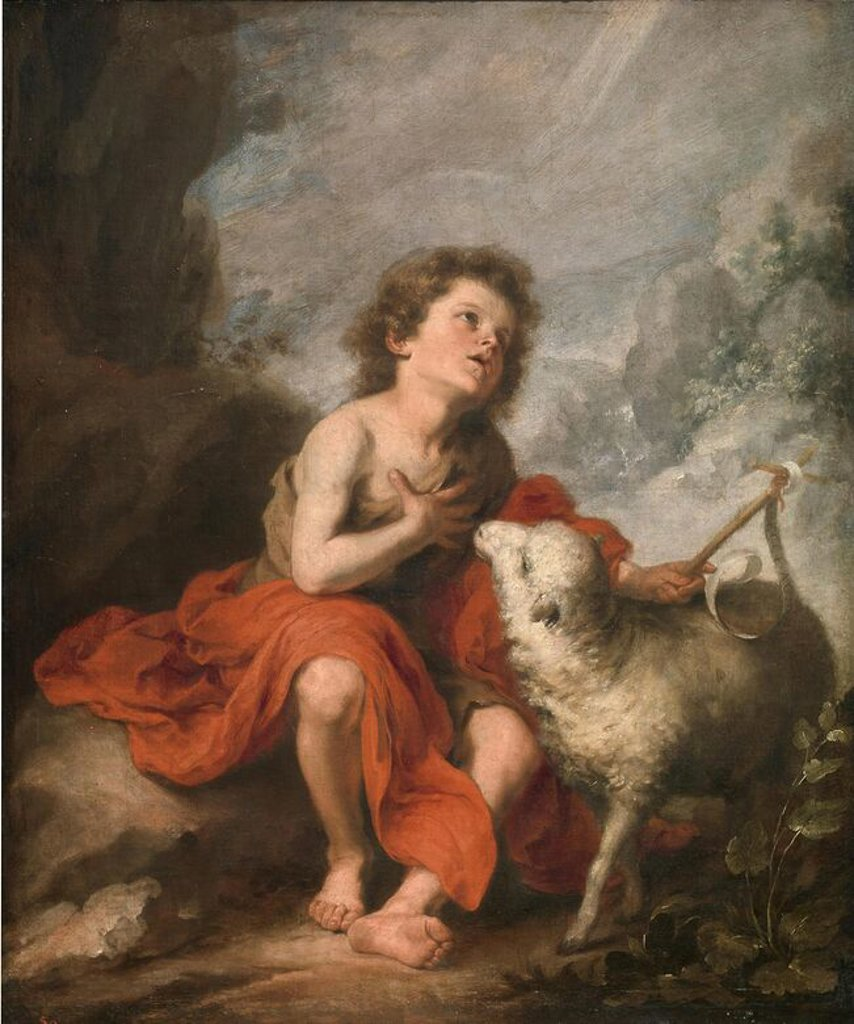 Stock Photo: 4409-107839 Bartolomé Esteban Murillo / 'Saint John the Baptist as a Child', 1670-1680, Spanish School, Oil on canvas, 121 cm x 99 cm, P00963. Artwork also known as: SAN JUAN BAUTISTA NIÑO.