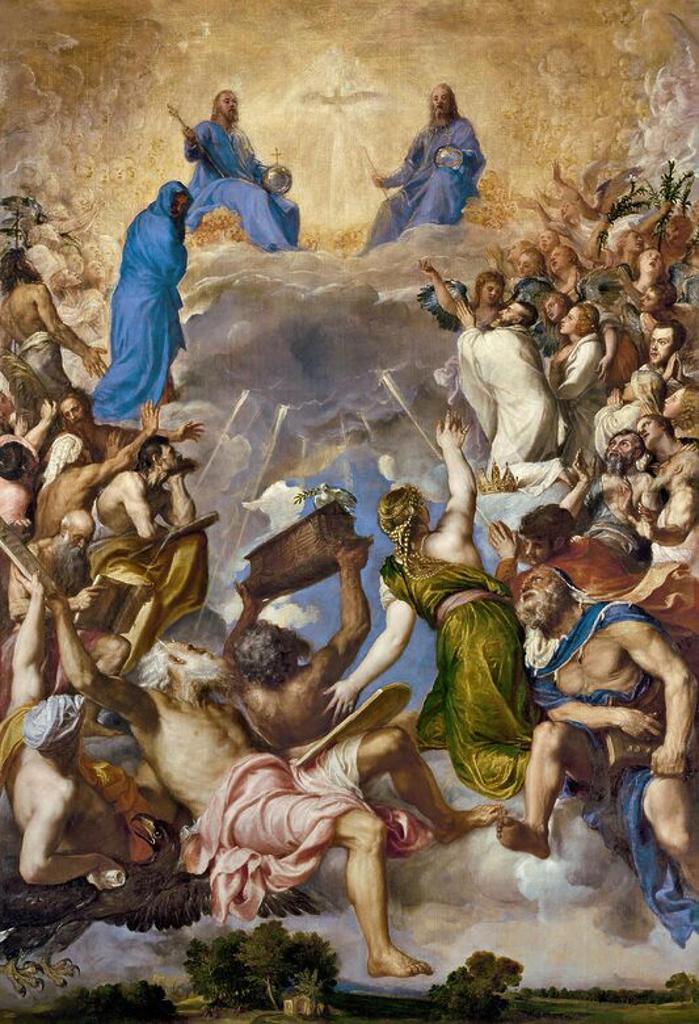Stock Photo: 4409-108065 Vecellio di Gregorio Tiziano / 'Glory', 1551-1554, Italian School, Oil on canvas, 346 cm x 240 cm, P00432. Artwork also known as: LA GLORIA.