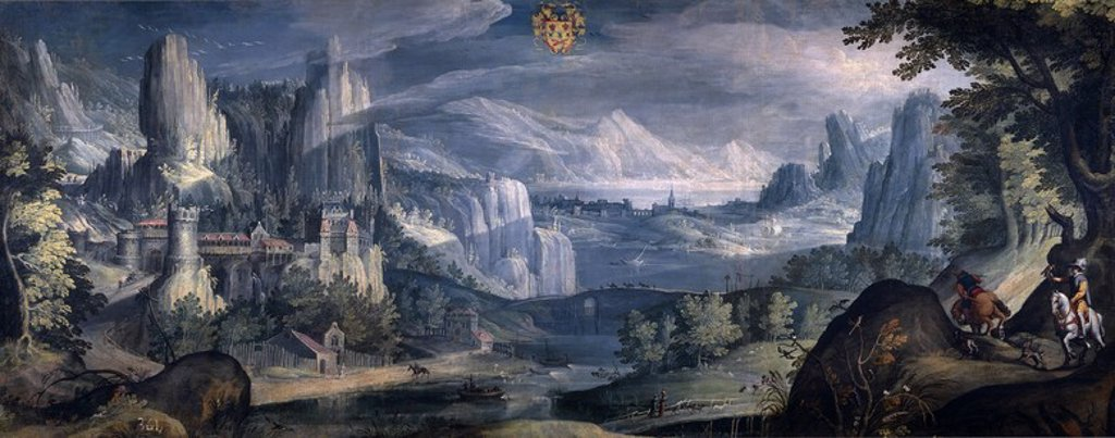Stock Photo: 4409-108079 Tobias Verhaecht / 'Alpine Landscape', 1600-1615, Flemish School, Canvas, 106 cm x 267 cm, P03057. Artwork also known as: Paisaje alpino.