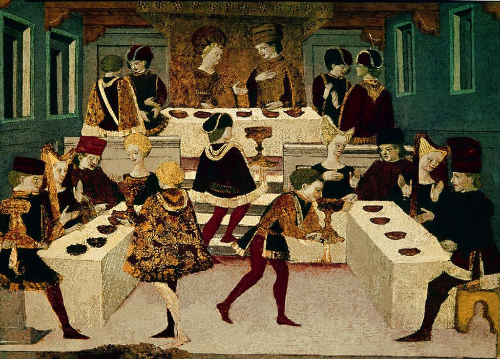 Stock Photo: 4409-10815 EL CONVITE DE ALATIEL Y PERICONE - DETALLE DEL DECAMERON - SIGLO XIV. Author: BOCCACCIO, GIOVANNI. Location: MUSEO CORRER, VENEDIG, ITALIA.