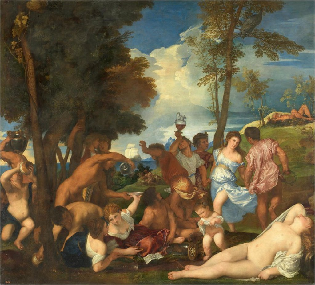 Stock Photo: 4409-108174 Vecellio di Gregorio Tiziano / 'Bacchanal on Andros', 1523-1526, Italian School, Oil on canvas, 175 cm x 193 cm, P00418. Artwork also known as: La bacanal de los andrios.