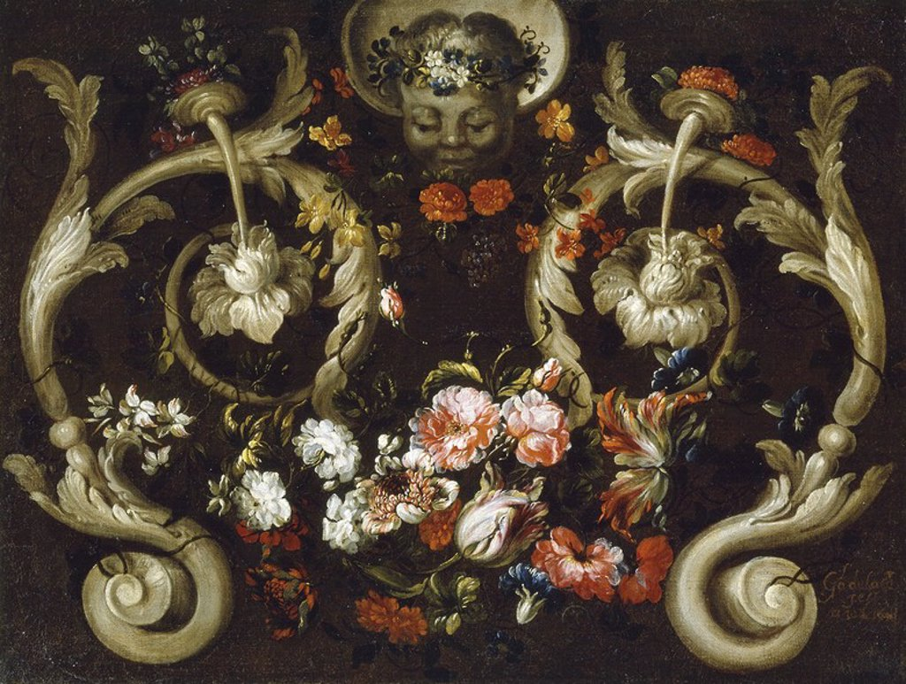 Stock Photo: 4409-108202 Gabriel de la Corte / 'Grotesques with Flowers', 1670-1680, Spanish School, Oil on canvas, 61 cm x 81 cm, P07929. Artwork also known as: Mascarón con rosas y tulipanes.