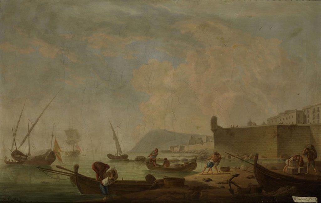 Stock Photo: 4409-108223 Mariano Ramón Sánchez / 'Vista de Barcelona por el Este', ca.  1787, Spanish School, Oil on canvas, 62 cm x 97 cm, P01152.