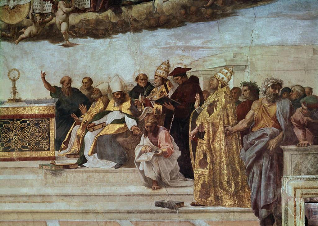 DISPUTA DEL SACRAMENTO O TRIUNFO DE LA RELIGION FRESCO DE LA ESTANCIA DEL SELLO PINTADO EN 1509. DETALLE LATERAL DERECHO. Author: RAPHAEL. Location: MUSEOS VATICANOS-ESTANCIA DEL SELLO, VATICANO. : Stock Photo