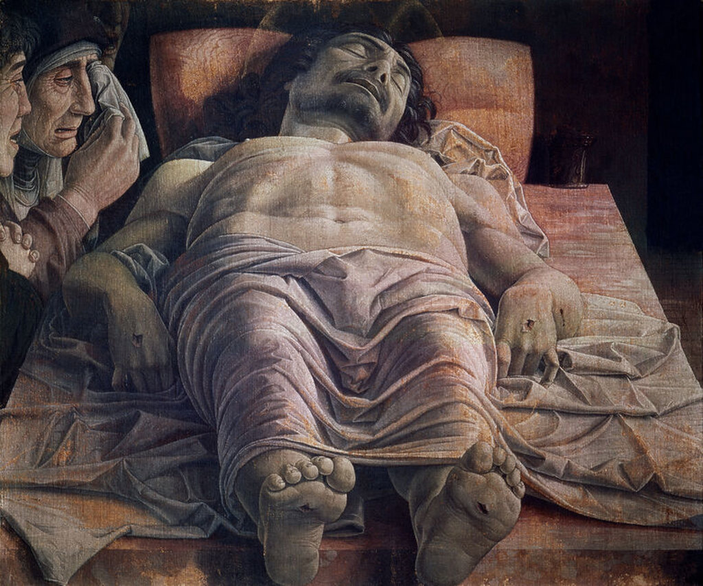 Stock Photo: 4409-10829 Italian school. Dead Christ. Oil tempera. Milan, Pinacoteca di Brera. Author: MANTEGNA, ANDREA. Location: PINACOTECA DI BRERA, MILAN, ITALIA.