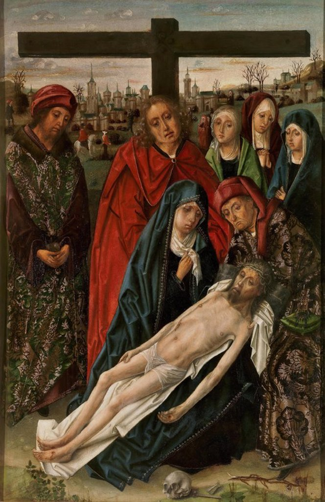 Stock Photo: 4409-108378 Maestro de don Álvaro de Luna / 'Lamentation', ca.  1490, Spanish School, Panel, 105 cm x 71 cm, P02425. Artwork also known as: La Lamentación.
